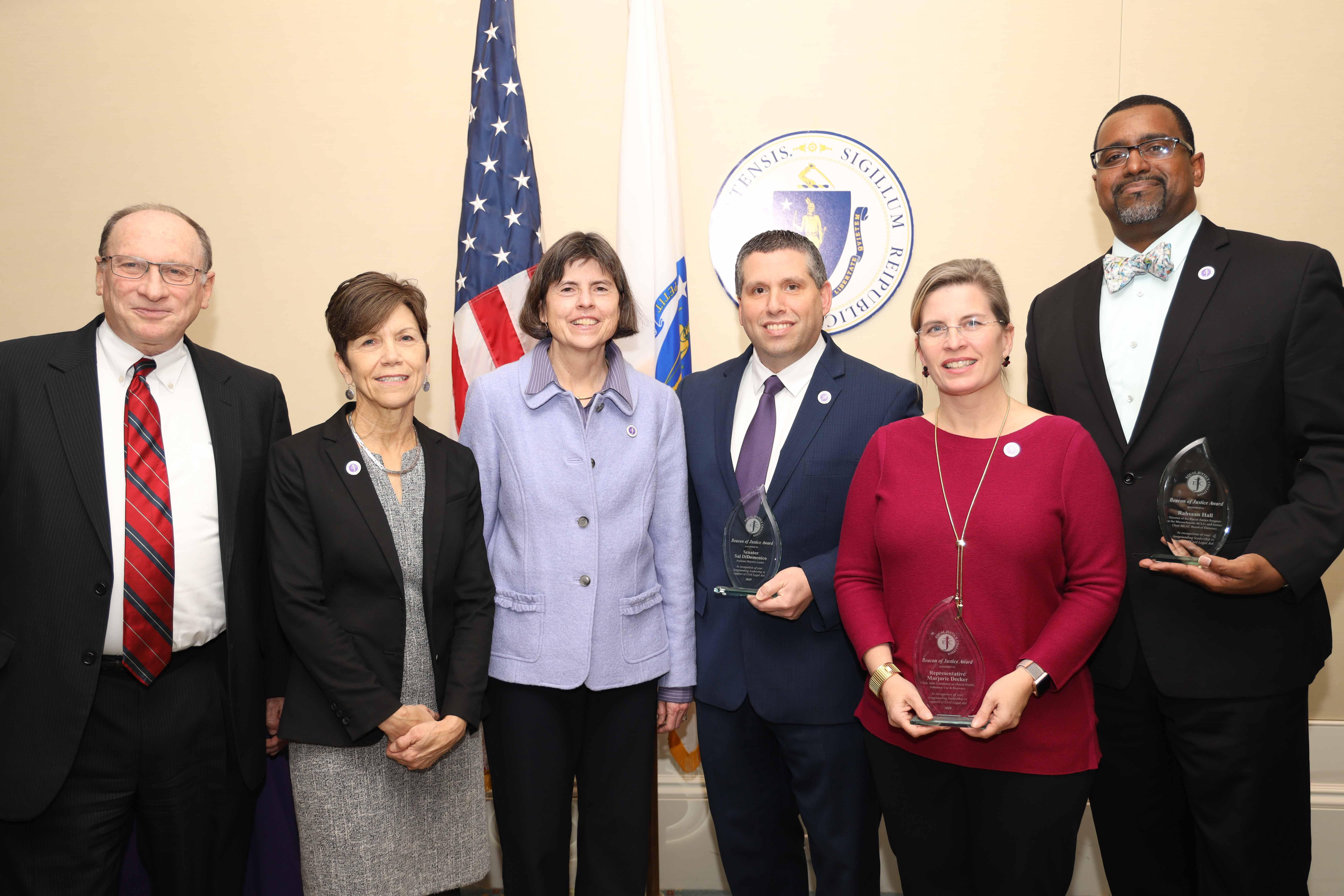 Chief Justice Ralph Gants, Lynne Parker, Marijane Benner Browne, Sen. Sal DiDomenico, Rep. Marjorie Decker, Rahsaan Hall