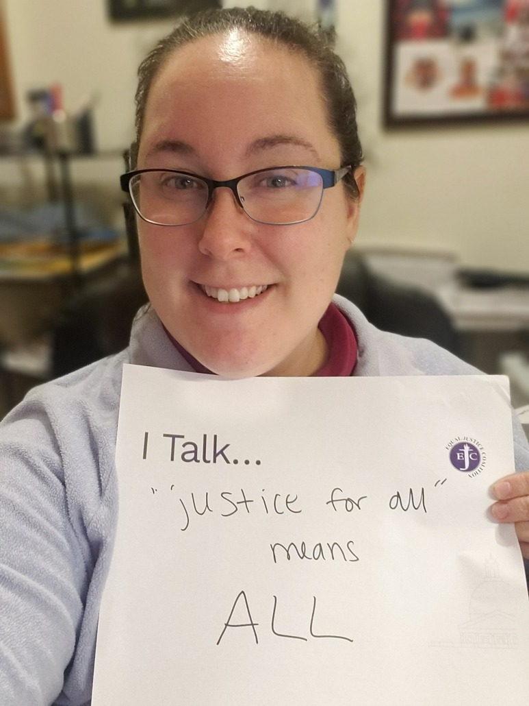 """I talk ... """"justice for all"""" means ALL"""