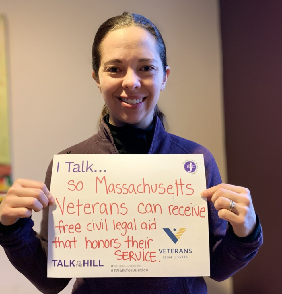 I talk so Massachusetts Veterans can receive free civil legal aid that honors their services