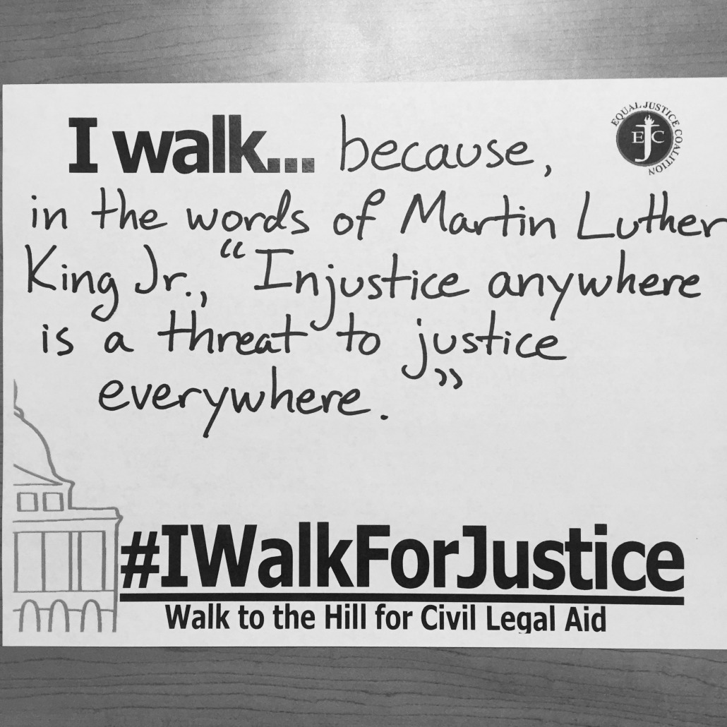"""I walk because, in the words of Martin Luther King Jr., """"Injustice anywhere is a threat to justice everywhere."""""""